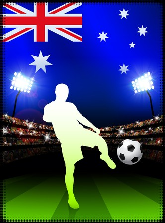 Australia Soccer Player on Stadium Background with Flag