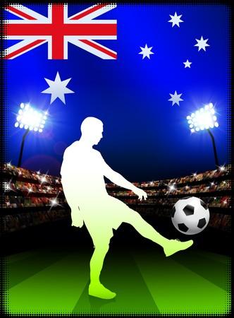 Australia Soccer Player on Stadium Background with FlagOriginal Illustration Stock Illustration - 7216901