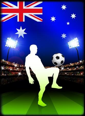 Australia Soccer Player on Stadium Background with FlagOriginal Illustration Stock Illustration - 7216899