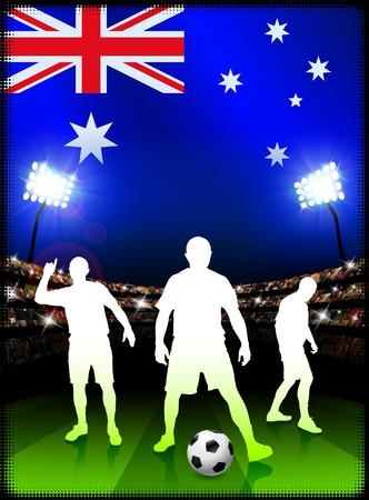 Australia Soccer Player on Stadium Background with FlagOriginal Illustration Stock Illustration - 7216914