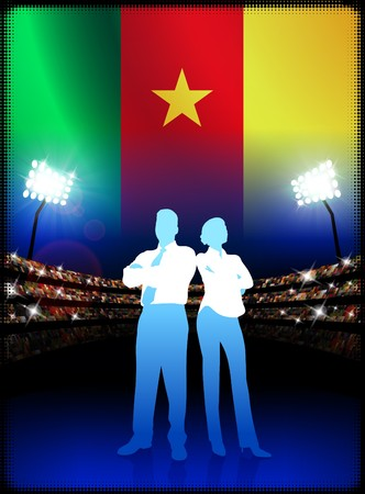 Cameroon Business Couple on Stadium Background with Flag Original Illustration illustration