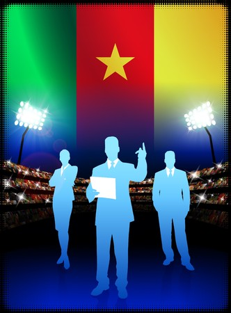 Cameroon Business Team on Stadium Background with Flag Original Illustration illustration