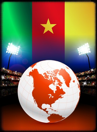 Globe sur le contexte de stade avec le drapeau du CamerounIllustration originale Banque d'images - 7217050