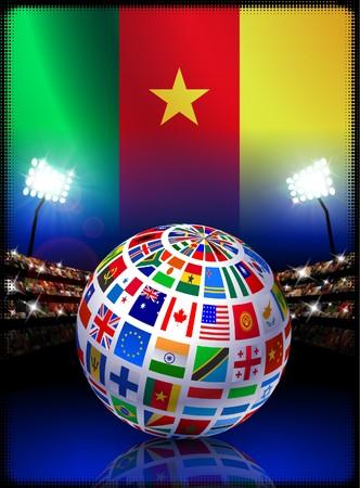 Flag Globe on Cameroon Stadium Soccer Match Original Illustration illustration