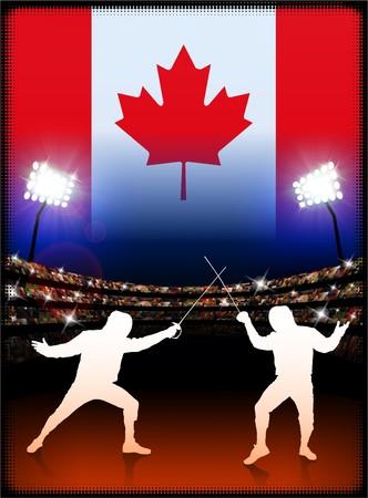 canadian flag: Canada Fencing on Stadium Background with Flag Original Illustration