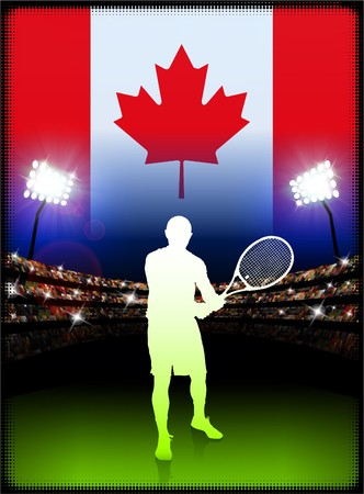 canadian flag: Canada Tennis Player on Stadium Background with Flag Original Illustration Stock Photo