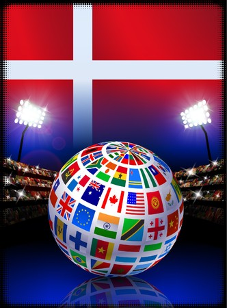 cross match: Flag Globe on Denmark Stadium Soccer Match Original Illustration