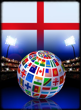 cross match: Flag Globe on England Stadium Soccer Match Original Illustration
