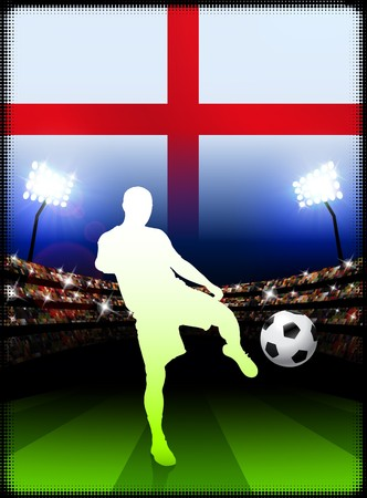 England Soccer Player on Stadium Background with Flag Original Illustration illustration