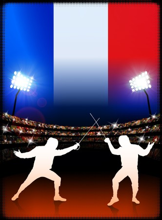 french flag: France Fencing on Stadium Background with Flag Original Illustration