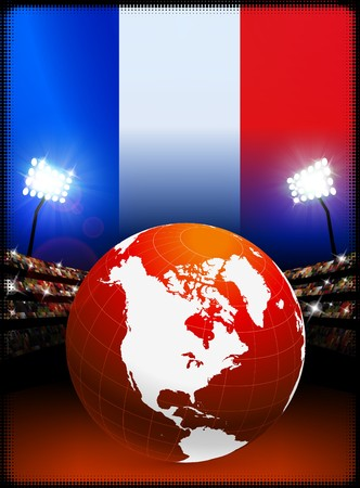 Globe on Stadium Background with France Flag Original Illustration illustration
