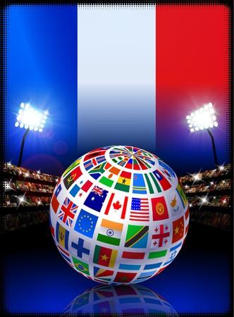Flag Globe on France Stadium Soccer Match Original Illustration illustration