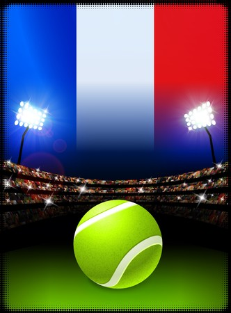 french flag: France Flag on Stadium Background during Tennis Match Original Illustration