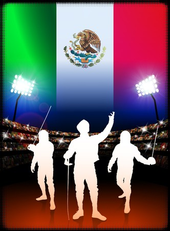 Mexico Fencing on Stadium Background with Flag Original Illustration Imagens