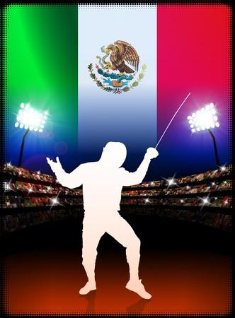 dangerous: Mexico Fencing on Stadium Background with Flag Original Illustration Stock Photo