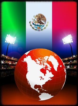 Globe on Stadium Background with Mexico Flag Original Illustration illustration