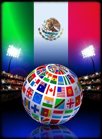 Flag Globe on Mexico Stadium Soccer Match Original Illustration illustration