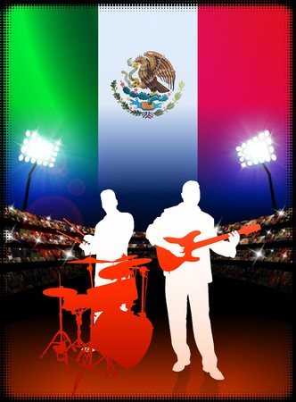 Mexico Live Music Band on Stadium Concert Background with Flag Original Illustration Stock Photo
