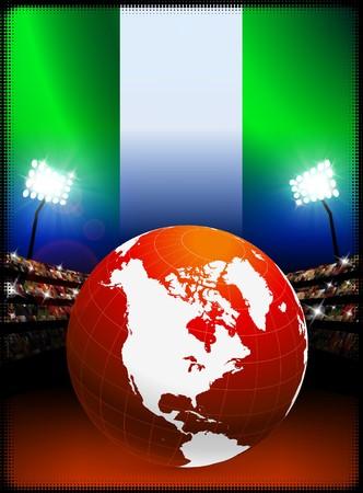 Globe sur fond de stade avec le drapeau du NigeriaIllustration originale Banque d'images - 7217055