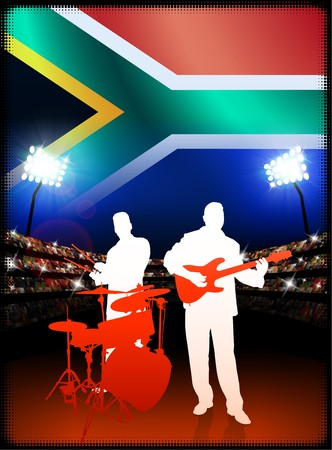South Africa Live Music Band on Stadium Concert Background with Flag Original Illustration