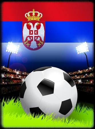 Serbia Flag on Stadium Background during Soccer Event Original Illustration
