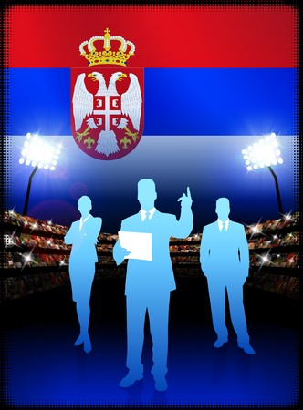 Serbia Business Team on Stadium Background with Flag Original Illustration Imagens