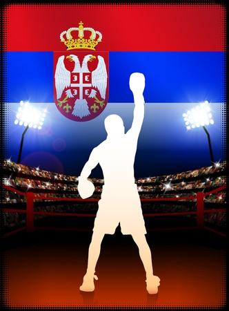 serbia: Serbia Boxing Event with Stadium Background and Flag Original Illustration