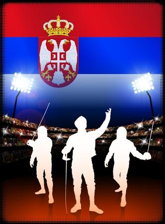 Serbia Fencing on Stadium Background with FlagOriginal Illustration Imagens - 7217022