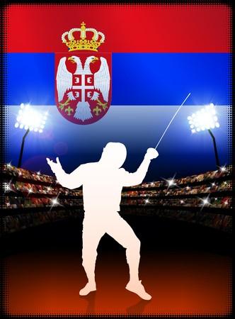 serbia: Serbia Fencing on Stadium Background with Flag Original Illustration