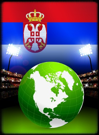 Globe on Stadium Background with Serbia Flag Original Illustration