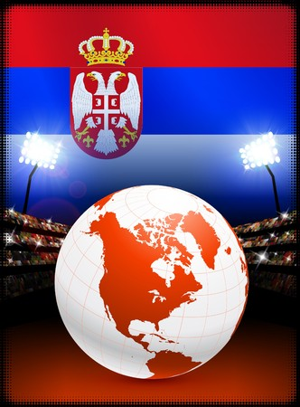Globe on Stadium Background with Serbia FlagOriginal Illustration Imagens - 7217129