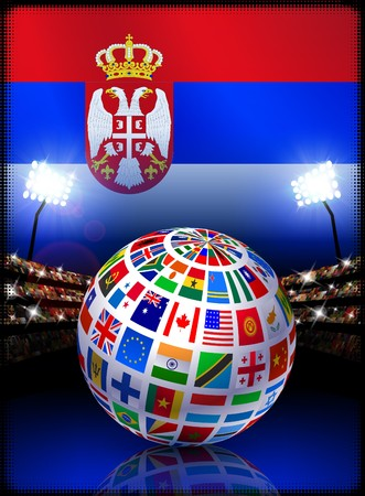 Flag Globe on Serbia Stadium Soccer Match Original Illustration