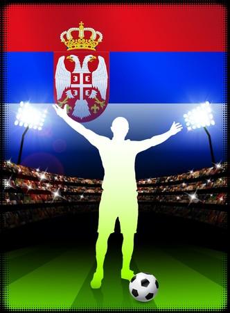 Serbia Soccer Player on Stadium Background with Flag Original Illustration