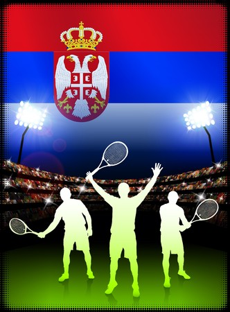 Serbia Tennis Player on Stadium Background with Flag Original Illustration