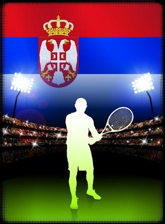 serbia: Serbia Tennis Player on Stadium Background with Flag Original Illustration