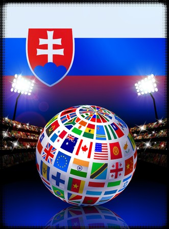 Flag Globe on Slovakia Stadium Soccer Match Original Illustration illustration