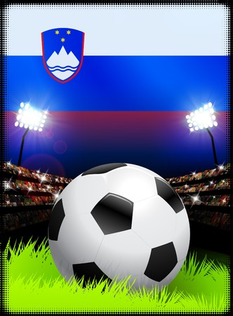 Slovenia Flag on Stadium Background during Soccer Event