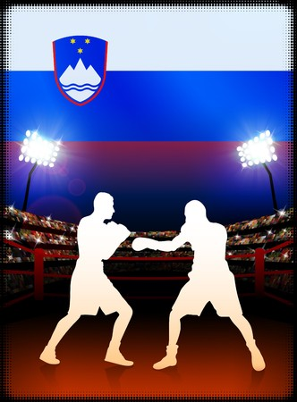 Slovenia Boxing Event with Stadium Background and Flag