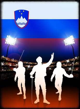 Slovenia Fencing on Stadium Background with Flag