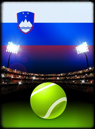Slovenia Flag on Stadium Background during Tennis Match