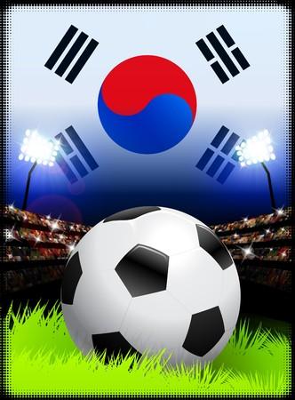 South Korea Flag on Stadium Background during Soccer Event Original Illustration illustration