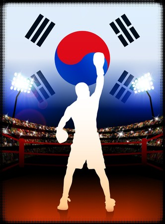 South Korea Boxing Event with Stadium Background and Flag Original Illustration illustration