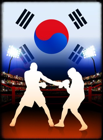 South Korea Boxing Event with Stadium Background and Flag Original Illustration illustration