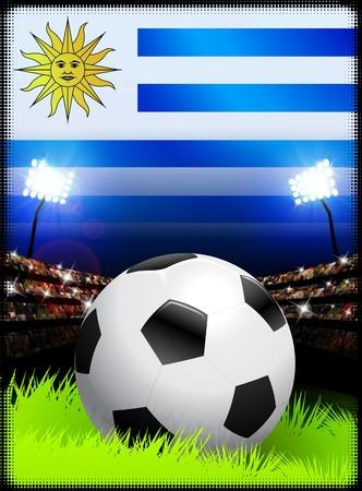 Uruguay Flag on Stadium Background during Soccer Event Original Illustration