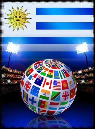 Flag Globe on Uruguay Stadium Soccer Match