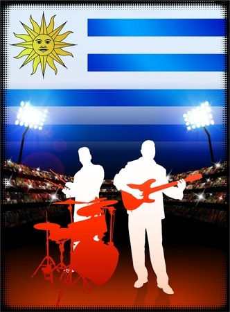 Uruguay Live Music Band on Stadium Concert Background with Flag Original Illustration