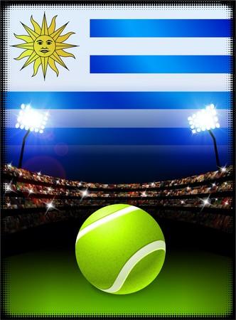 Uruguay Flag on Stadium Background during Tennis Match Original Illustration Imagens