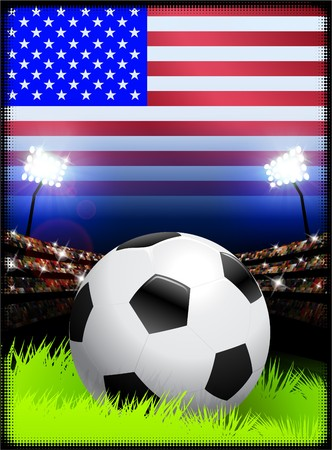 USA Flag on Stadium Background during Soccer Event Original Illustration illustration