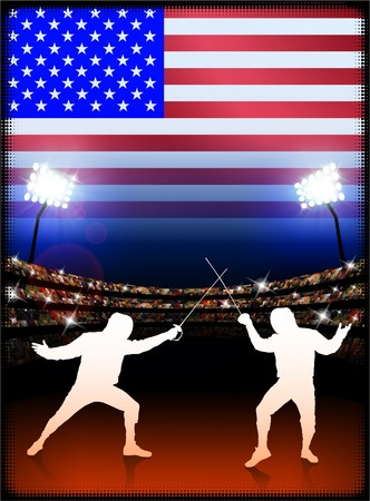 USA Fencing on Stadium Background with Flag