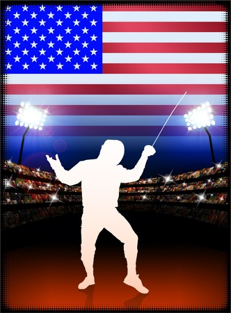 USA Fencing on Stadium Background with FlagOriginal Illustration Stock Illustration - 7217002